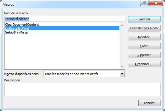 Éditeur de macro Microsoft Word - Macro ListInstalledFonts sélectionnée